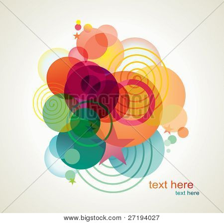 Vector background of stars, bubbles and twisted lines.