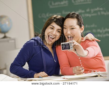 Young women taking self-portrait