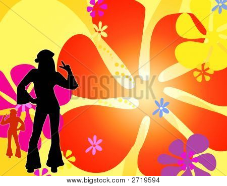 Dancing Silhouette Hippie Girls