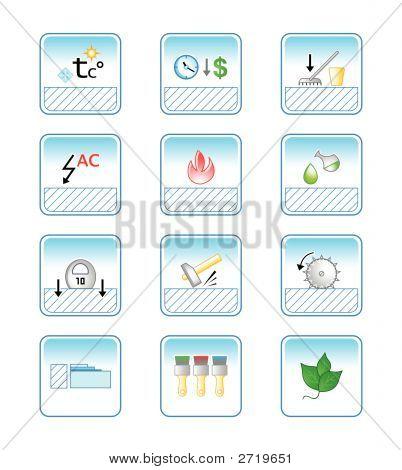Floor Coverings Properties Icon-Set