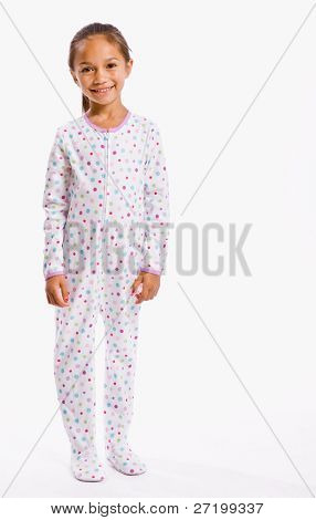 Girl in footie pajamas