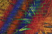 Hallucinogen Fluorescent Background From Plants Of Surreal Colors And Brick Wall. Abstract Illusion  poster