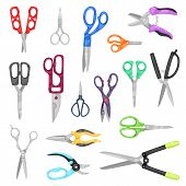 Scissor Vector Professional Pair Of Scissors Cutting Hair Or Scissoring With Cutter And Pruning Shea poster