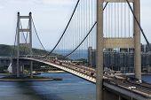 foto of tsing ma bridge  - Tsing Ma Bridge in Hong Kong at day - JPG