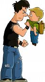 image of bullying  - The bully and the little boy vector - JPG