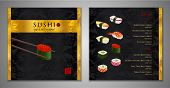 Sushi Bar Menu Design. Japanese Restaurant Menu Template With Salmon Classic Sushi Roll, Shrimp, Oct poster