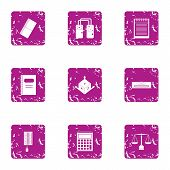 Scientific Input Icons Set. Grunge Set Of 9 Scientific Input Icons For Web Isolated On White Backgro poster