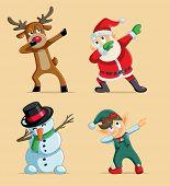 Dabbing Dancing Christmas Character Design Vector Set poster