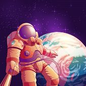 Selfie In Outer Space Cartoon Vector Illustration With Astronaut In Futuristic Spacesuit Making Port poster