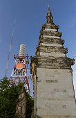 A Traditional Balinese Temple Tower On Kuta Beach In Bali Indonesia. The Temple Tower Is Contrasted  poster
