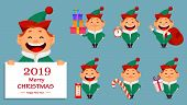 Christmas Greeting Card. Funny Santa Claus Helper Elf. Cheerful Cartoon Character Standing Behind Pl poster