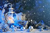 Merry Christmas And Happy New Year. Christmas Composition Of Christmas Toys, Gifts, Candles And Chri poster