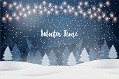 Winter Time. Holiday Winter Landscape For New Year Holidays With Firs, Light Garlands, Falling Snow. poster