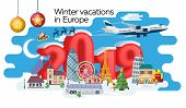New Year And Winter Travel Banner. Christmas Travel, Europe Winter Town, Snow Village. Traveling By  poster