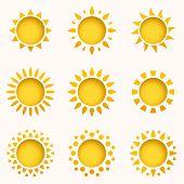 Sun Icon Set. Summer Sky Elements. Sun Silhouettes Collection. Isolated Sun Symbol. Cute Cartoon Sun poster