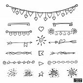 Vector Set Of Hand Draw Underline Patterns, Dividers And Festive Elements. Doodle Icons Checkboxes,  poster