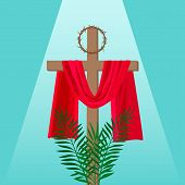 Christian Banner Holy Week With The Crucifixion Of Jesus And The Thorns Wreath. poster
