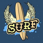 Surfing Surf Themed Longboard With Wings Hand Drawn Traditional Old School Tattoo Aesthetic Flesh Bo poster