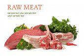 Постер, плакат: сырье мясное ассорти