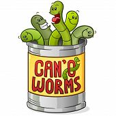 Can Of Worms Cartoon Character Signifying Saying Meaning A Hard To Handle Situation Or Problem poster
