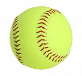 stock photo of softball  - softball yellow with red stitching full picture - JPG