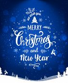 Merry Christmas And New Year Typographical On Blue Holiday Background With Christmas Wreath, Landsca poster