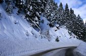 pic of snowy-road  - Winter travel on snowy roads in central Idaho - JPG
