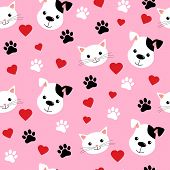 Cartoon Cats And Dogs Seamless Pattern Showing Cute Cat And Dog For Pets Friendship Or Wallpaper Des poster