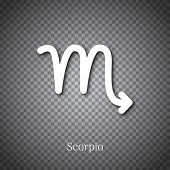 Scorpio Astrological Symbol With Shadow Isolated On Transparent Background. Star Sign For Individual poster