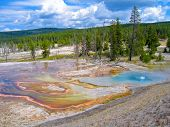 stock photo of steam sterilization  - hot springs in Yellowstone national park - JPG