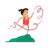 Rhythmic Gymnastics Little Girl With Ribbon Vector. Female Smiling Having Active Leisure And Pastime poster