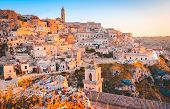 Panoramic View Of The Ancient Town Of Matera (sassi Di Matera) In Beautiful Golden Morning Light At  poster