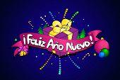 Feliz Ano Nuevo. Vector Creative Background. Spanish Version poster