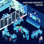 Colored Isometric Meteorological Weather Center Composition With Office In Open Space Style Vector I poster