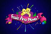 Feliz Ano Novo. Vector Creative Background. Happy New Year In Portuguese Language. Colorful Line Art poster