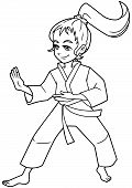Full Length Line Art Illustration Of Determined Girl Wearing Karate Suit While Practicing Martial Ar poster