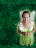 picture of tinkerbell  - A pretty fairy princess with fairy wings and a magic wand with a spring green background - JPG