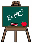 picture of albert einstein  - chalkboard on easel with theory of relativity - JPG