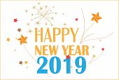 New Year 2019. Happy New Year 2019  Label. Logo For New Year Card, Poster, Design poster