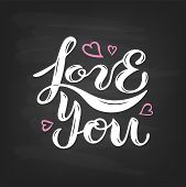 Handwritten Lettering Love You poster