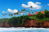 Tropical Island, House Cliff Among Palm Trees. Tropical Life. Sri Lanka Landscape. Summer Holidays A poster