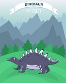 Poster With Dinosaur On The Background Of A Mountain Landscape. Dinosaur World. Banner In A Flat Car poster