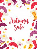 Autumn Sale Poster With Leaves, Umbrella, Gumshoe And Rain Clouds On White Background. Frame Design poster