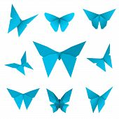 Set Of Isolated Flying Paper Butterflies. Blue Butterfly On The White Background. Japanese Origami,  poster