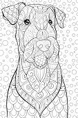 Adult Coloring Book,page A Cute Dog On The Background Image For Relaxing.zen Art Style Illustration. poster