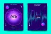 Electronic Music Movement Concept. Wave Poster For Dance Night Party. Sound Amplitude Of Distorted W poster