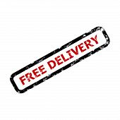 Free Delivery Text Rubber Stamp Isolated On White. Guarantee Free Delivery For Business, Guarantee T poster