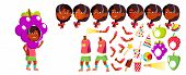 Girl Kindergarten Kid Vector. Animation Creation Set. Face Emotions, Gestures. Preschool. Young Posi poster