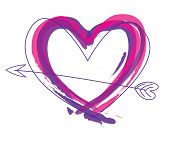 stock photo of heart valentines  - Abstract heart vector in purple and pink - JPG