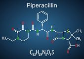 Piperacillin Molecule. It Is Antibiotic Drug. Structural Chemical Formula And Molecule Model On The  poster